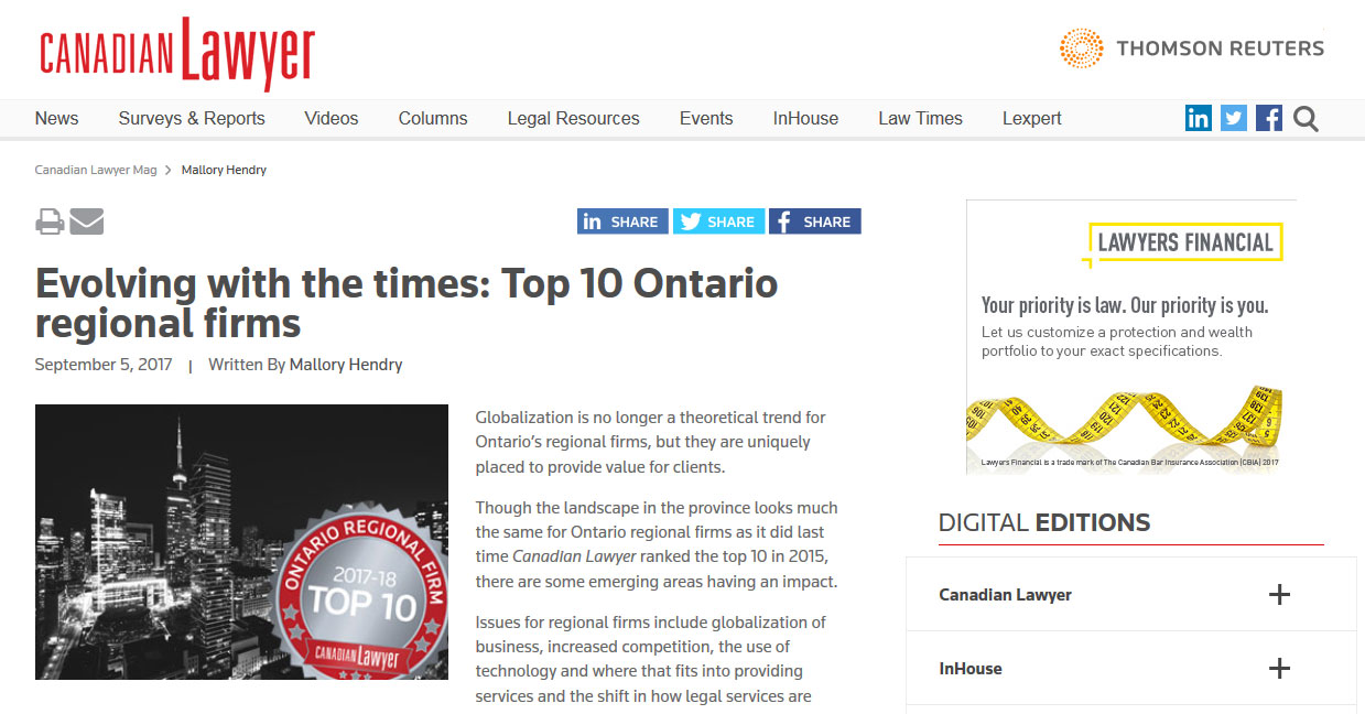 Nelligan O'Brien Payne: One of the Top Ontario Regional Firms!